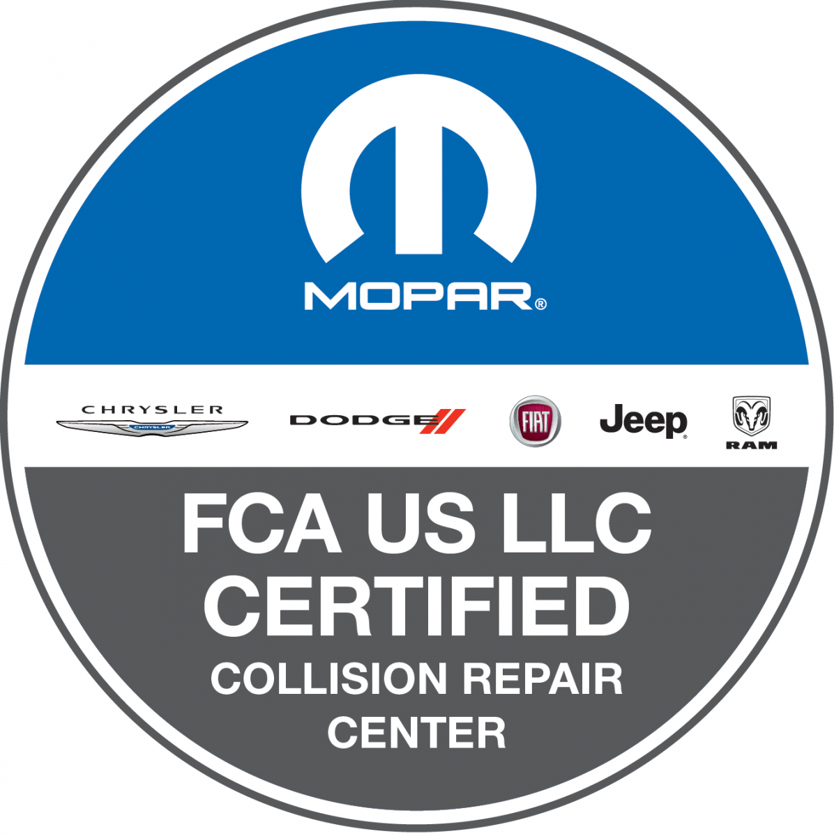 mopar, chrysler, dodge, fiat, jeep, ram, fca, certified collision repair center logo